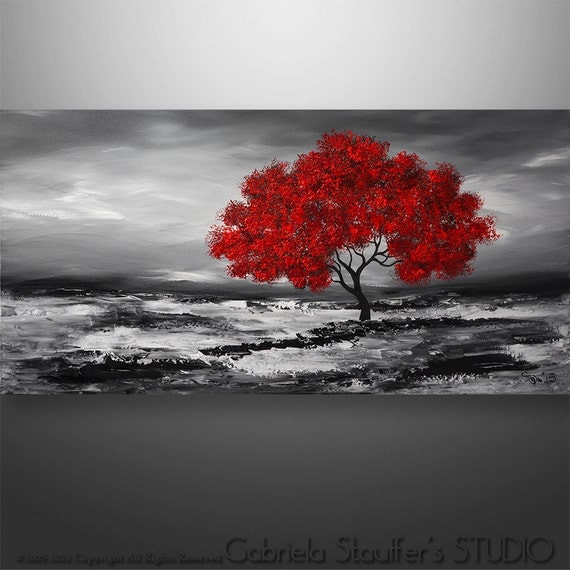 Abstract painting original painting wall art landscape for Dark red paintings