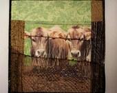 Art Quilt, Farm scene, Fiber Art, Cow art, Wall Hanging, non-traditional quilt, collage art, fiber collage, Textile art