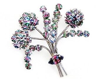 Art Deco Iris Glass Blooming Tree or Bush Figural Brooch