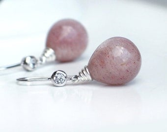 Peach Moonstone Teardrop Earrings | Natural Silvery Rose Pink Moonstone Drops | CZ Sterling Silver Dangles | Gift for Her | Ready to Ship