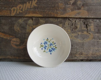 Vintage Mid Century Blue Flower Berry Dessert Bowl by Stetson