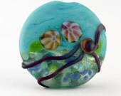 SRA Glass Lampwork Bead Lentil Focal Turquoise Blue Green Etched Matte 'Tropical Sea'