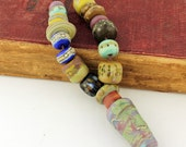 Lampwork Glass Bead Set, SRA Matte Etched Rustic Organic with Talisman Focal 'Tribal Relics'