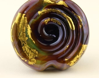 Lampwork Glass Bead Spiral Focal Reactive Purple Blue Gold  'Inca Treasures'