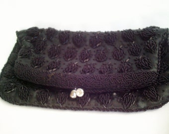 40s antique purse, antique beaded bag, black beaded bag, victorian bag, 40s costume, 40s dress purse, exceptional early beaded bag