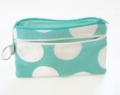 Polka Dot Clutch, Smart Phone Bag, Turquoise Clutch, Phone Wallet, Handbag