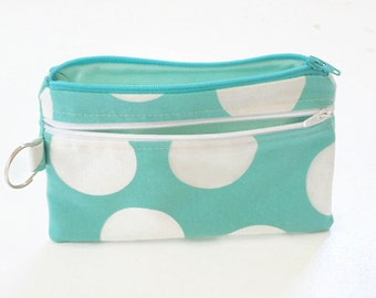 Polka Dot Clutch, Smart Phone Bag, Turquoise Clutch, Phone Wallet, Handbag