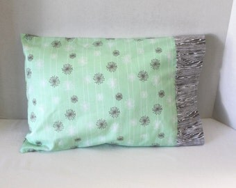 Good Natured by Riley Blake Toddler Pillowcase Mint Green and Gray Fits 12 x 16 Pillow Travel Size Pillow Cover Pillow Case
