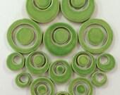 15 Handmade APPLE GREEN CIRCLE Mosaic Bubble Tiles