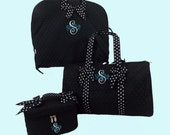 Personalized Garment Bag Duffle Bag And Cosmetic Train Case In Black With Black And White Polka Dot Trim