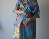 Blue Watercolor Batik Buttoned Hospital Gown Delivery Kaftan Perfect as labor delivery nursing gown to be moms Baby shower photo prop