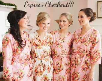 Pink Bridesmaids Robes, Kimono Crossover Robes, Spa Wraps, Bridesmaids gift, getting ready robes, Bridal shower party favors, Floral