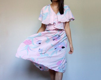 80s Pale Pink Sundress Tropical Floral Print Day Dress Sheer Ruffle Summer Dress See Through Casual Pastel Sun Dress  Large Extra Large L XL