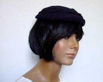 1960s Vintage Hat Navy Blue Wool Hat 60s Classy Henry Pollak New York