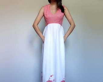 Red White Gingham Dress Long Floral 70s Summer Maxi Casual Sundress Pockets V Neck Vintage Floor Length Dress - Small S