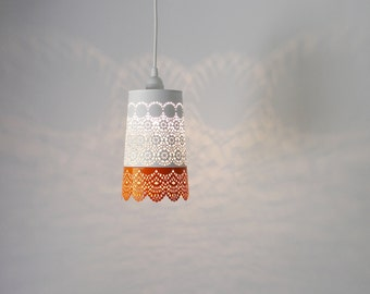 Orange & White Lace Pendant Lamp, Colorful Hanging Lighting Fixture With A Metal Mesh Lace Shade, Modern BootsNGus Lights And Home Decor