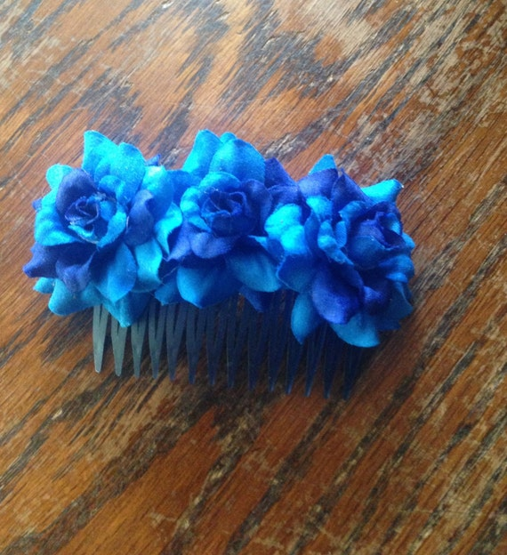 Blue silk Flower Hair Comb