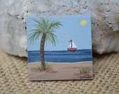 Beach Painting Magnet/ Beach Magnet/ Handmade Magnet/ Wood Painted Magnet