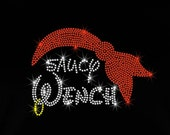 """8.2"""" Minnie Mouse saucy Wench pirate iron on rhinestone transfer for bling Disney Cruise"""