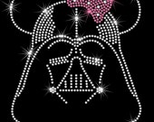 """8"""" Star Wars Darth Vader Minnie Mouse iron on rhinestone transfer your bow color"""