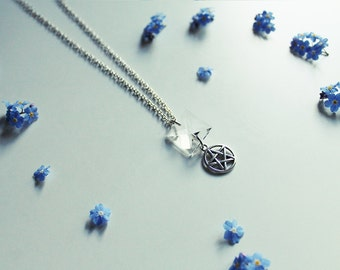 Square clear quartz necklace  with pentagram - silver plated - 46cm