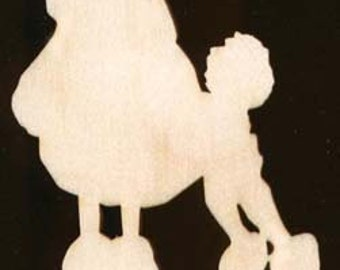 Dog POODLE shape Natural Craft Wood Cutout 1108