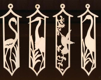 4 Birds 6 inches tall Ornament Set Natural Craft Wood Cutout 868-6