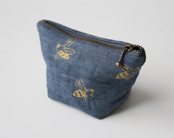 Coin Pouch - Blue Honeybees