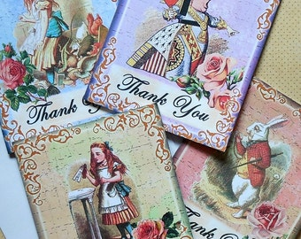 Alice in Wonderland Thank you CARDS- Set of 4 with Envelopes- Gorgeous designs on Card stock Alice in Wonderland greeting thank you cards