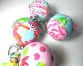 Lilly Pulitzer Inspired Hand painted wooden ball key chains  keychains key fobs key rings