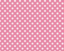 Hot Pink Small Dots Fabric by Riley Blake Designs - Half Yard - 1/2 Yard - Pink Dots - C350-70