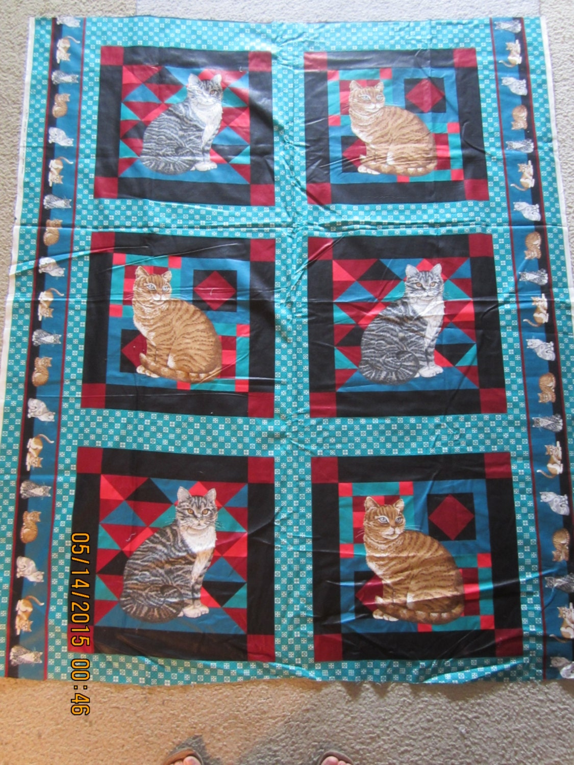 Sale Rare Cat Pillows Or Cheater Quilt Fabric Panel Vip