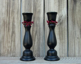 Taper Candleholders, Pair, Gloss Black, Pip Berries, Painted Wood, Set of Two, Choose Berry Color, Primitive, Rustic, Country Chic