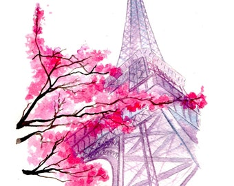 Blossoms in Paris, print from original watercolor illustration by Jessica Durrant