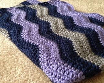 Crocheted ripple pattern baby blanket stroller blanket