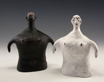 Jenny Mendes Sculpted Set - Black and White Ceramic Salt and Pepper Shaker Figures