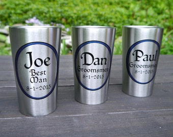 Personalized Tumbler, Beer Groomsmen Gift - Stainless Steel Insulated Beer Cup for Deck, Patio, Bar & Grill, Pool, BBQ - Eco-friendly