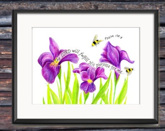 Busy Bees, Bible Verse art print, scripture design, hand lettered typography, wall art decor