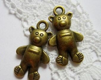 10 Bronze teddy bear charms bear pendants 15mm x 26mm B.us 0415