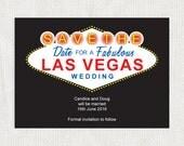 Las Vegas printable wedding save the date card - sign instant download editable casino destination usa america