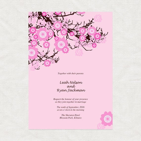 cherry blossom wedding invitation printable diy by idoityourself. Black Bedroom Furniture Sets. Home Design Ideas