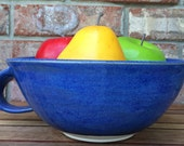 Handmade Wheel Thrown Flat Head Lake Polson Montana Blue Stoneware Ceramic Fruit and Berry Bowl or Extra Large Mug