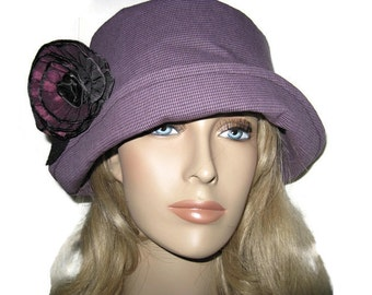 Cloche Hat Fabric Purple Rose Ribbon Trim