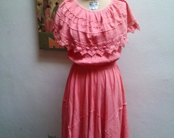 Frida Wears Pink....vtg70's Pink with Crochet Detail Angled Hemline Cotton Oaxacan Mexican Lounging Day Sun Dress...sz M-XL