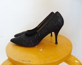 60s Black GLITTER Stilettos pumps size 8