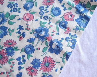 "Vintage Fabric - Pink and Blue Flowers -  35"" Wide Cotton - By the Yard"