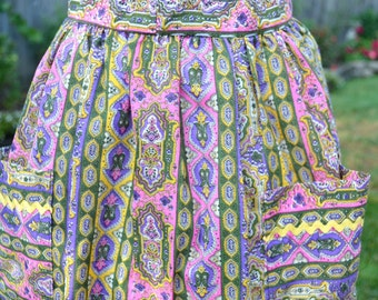 Vintage Apron - Mod Purple Paisley Skirt Apron