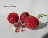 Punnet of loose raspberries  - 1/12 Handmade miniature food