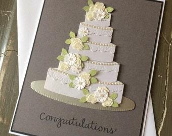Congratulations with Elegant Flowered Wedding Cake - Handmade Greeting Card