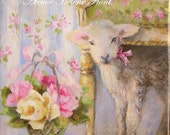 RESERVE pour SUZANNE - A lamb at Trianon palace - Canvas print based on Original oil Painting by  Helen Flont